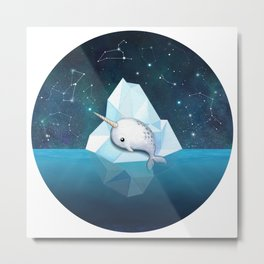 Baby Narwhal on Iceberg Metal Print