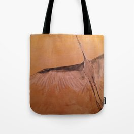 Wood Crane gold sky painting on wood Tote Bag