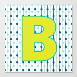 Letter B Monogram Blue, Green and Yellow with Pattern Canvas Print