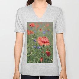 poppy flower no16 Unisex V-Neck