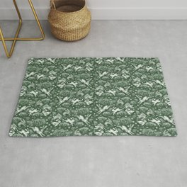 Hares Field, Jumping White Rabbits Winter Holidays Pattern,  Rug