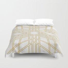 Golden stars on cream marble Duvet Cover