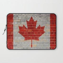 Canada flag on a brick wall Laptop Sleeve