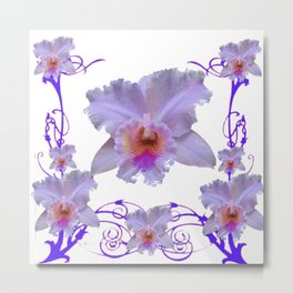 WHITE CATTLEYA ORCHIDS & PURPLE  ART Metal Print