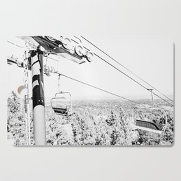 Chairlift // Mountain Ascent Black and White City Photograph Cutting Board
