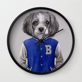dog boy portrait Wall Clock