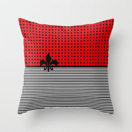 Cherry Red -  Dots and Lines Throw Pillow