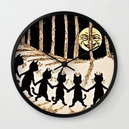 Cats & a Full Moon-Louis Wain Black Cats Wall Clock