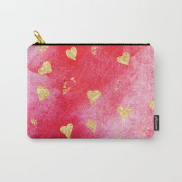 Red And Gold Watercolor Hearts Textures And Patterns Carry-All Pouch