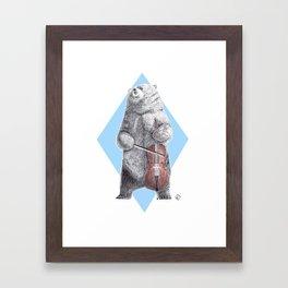 Cellist bear Framed Art Print