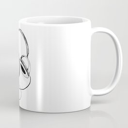 Headphones. Sketch style, black and white print. Coffee Mug