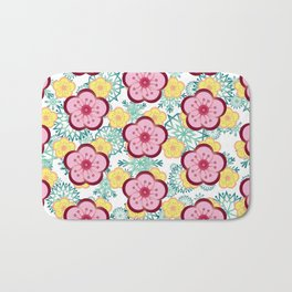 Sweet Plum Flower with Jade Snow Flake Bath Mat