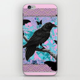 BLACK CROW & BUTTERFLIES PINK ART iPhone Skin