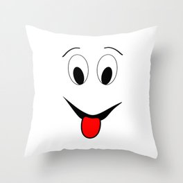 Funny face - black and red. Throw Pillow