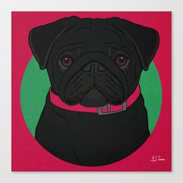 Icons of the Dog Park: Black Pug Design in Bold Colors for Pet Lovers Canvas Print
