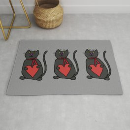 Cute Cat Holding Your Heart Rug