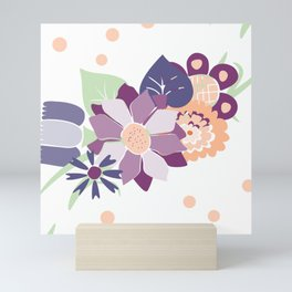 Peach and Purple Floral Pattern Mini Art Print