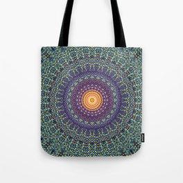 Happy Sun Circle Bohemian Geometric Thread Weave Pattern \\ Yellow Green Blue Purple Color Scheme Tote Bag