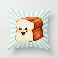 bread Throw Pillows featuring Bread by Kelly Gilleran