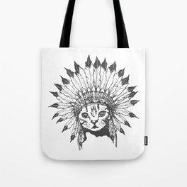 Indian Chief Cat Tote Bag