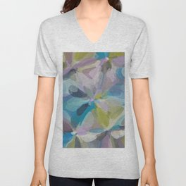circle pattern abstract background in blue purple yellow Unisex V-Neck