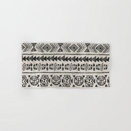 Boho Tribal Black & Cream, Geometric Print, Ink Tribal Decor Hand & Bath Towel