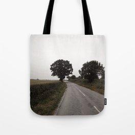 misty road in derbyshire Tote Bag