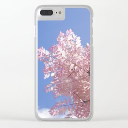 Pink Tree Blue Skies Clear iPhone Case