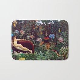 The Dream by Henri Rousseau 1910 // Jungle Lion Flowers Native Female Laying Colorful Landscape Bath Mat
