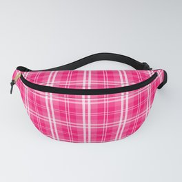 Bright  Neon Pink and White Tartan Plaid Check Fanny Pack
