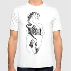 «procesos en conflictos» MEDIUM White Mens Fitted Tee