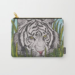 White tiger in wild grass Carry-All Pouch