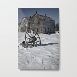 Wagon wheel in winter at the mining ghost town at Fayette Metal Print