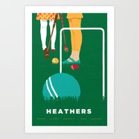 heathers Art Prints featuring 80s TEEN MOVIES :: HEATHERS by David Edward Johnson