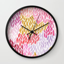 Rose Gold Pink Leaf Pattern Geometric Wall Clock