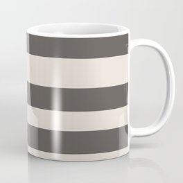 Brown and Cream Wide Horizontal Line Pattern 2021 Color of the Year Urbane Bronze and Shoji White Coffee Mug