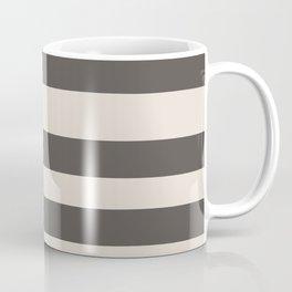Brown and Cream Wide Horizontal Line Pattern 2021 Color of the Year Urbane Bronze and Shoji White Coffee Mug
