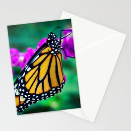 """Hello sunshine"" orange monarch butterfly close-up photo Stationery Cards"