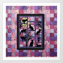 Night Cats on Patchwork Art Print
