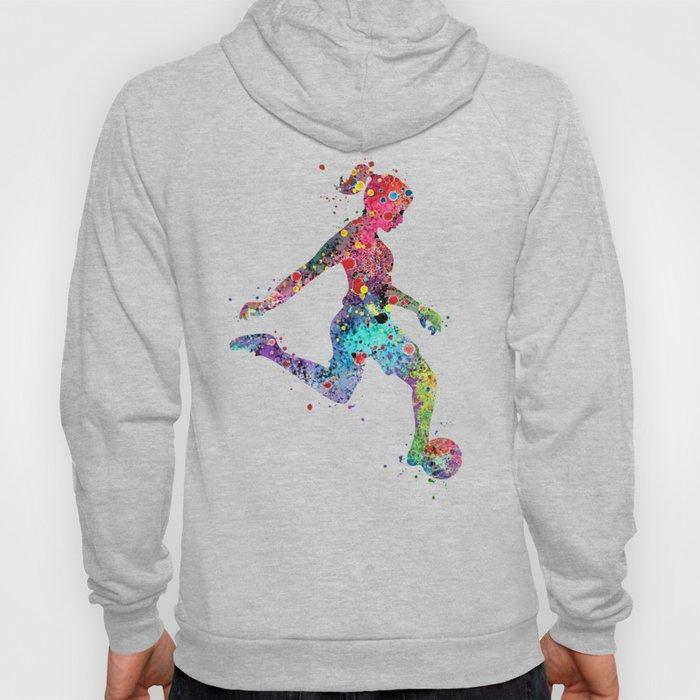 Girl Soccer Player Watercolor Sports Art Hoodie