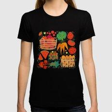 Farmers Market Veggies on Black_Robin Pickens Black LARGE Womens Fitted Tee