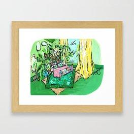 Luxe Palm Bedroom Interior Framed Art Print