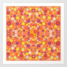 Living Coral Colorful Floral Pattern Art Print