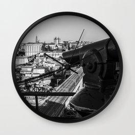 A coin operated scope and the Porto Cityscape, Porto, Portugal Wall Clock