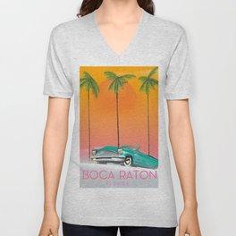 Boca Raton Florida travel poster Unisex V-Neck