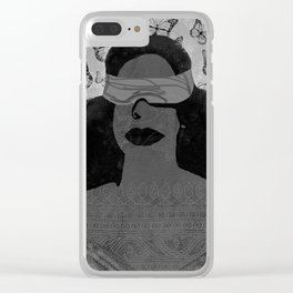 A Burst of Butterflies [Black & White] Clear iPhone Case