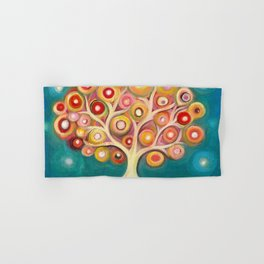 Tree of life with colorful abstract circles Hand & Bath Towel