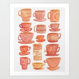 Pink Teacups and Mugs Art Print