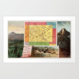 Vintage Map of Colorado with Illustrations (1890) Art Print