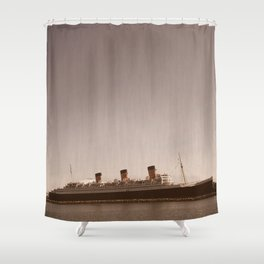 Vintage Rustic Sepia Aged Queen Mary Landscape Ocean Seascape Long Beach Print Shower Curtain